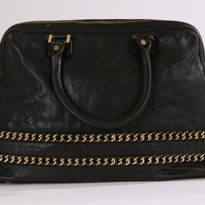 TORY BURCH Black Leather Gold Chain Tote Bag